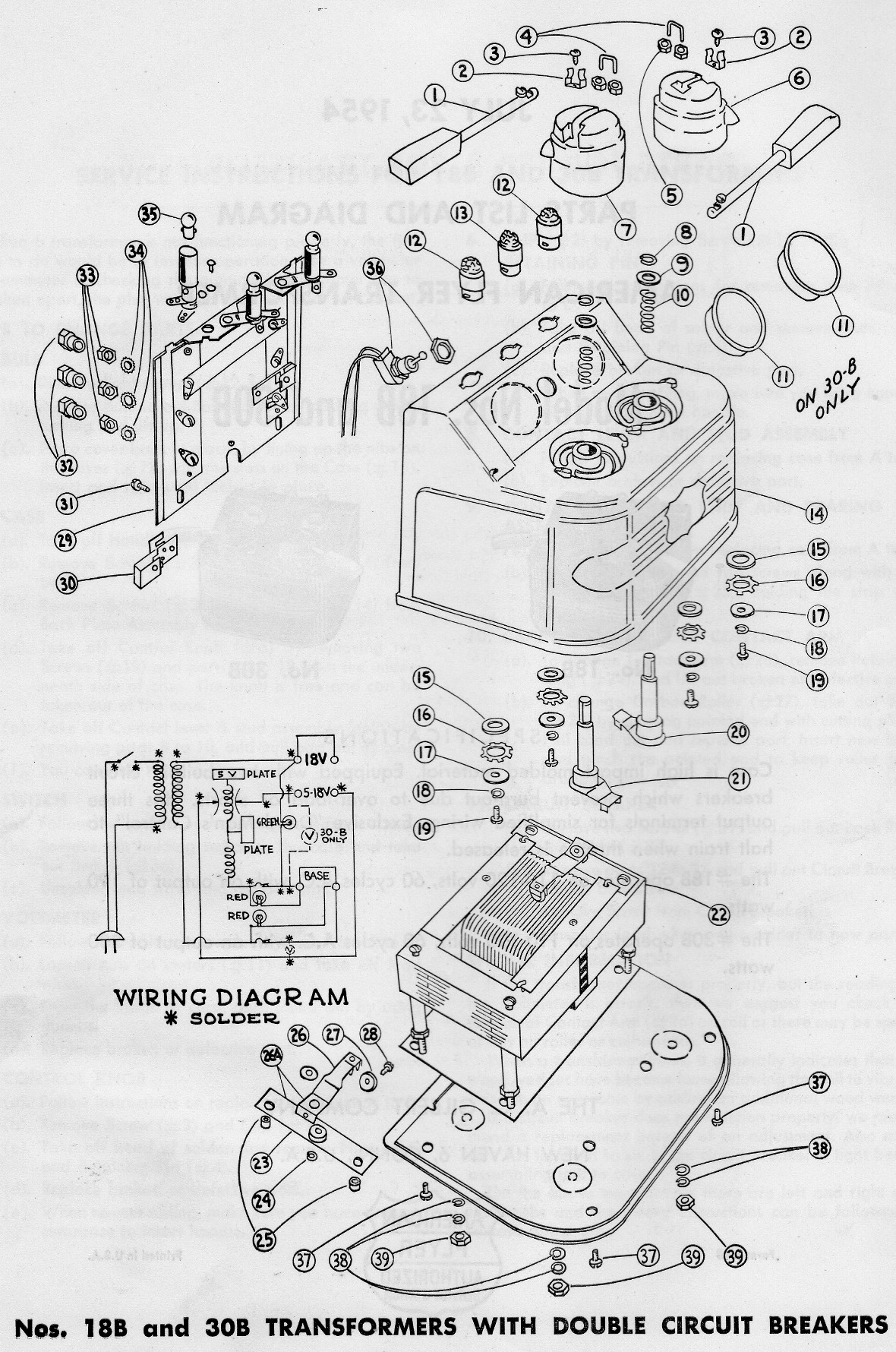 American Flyer Transformer 18b Amp 30b Parts List And Diagram