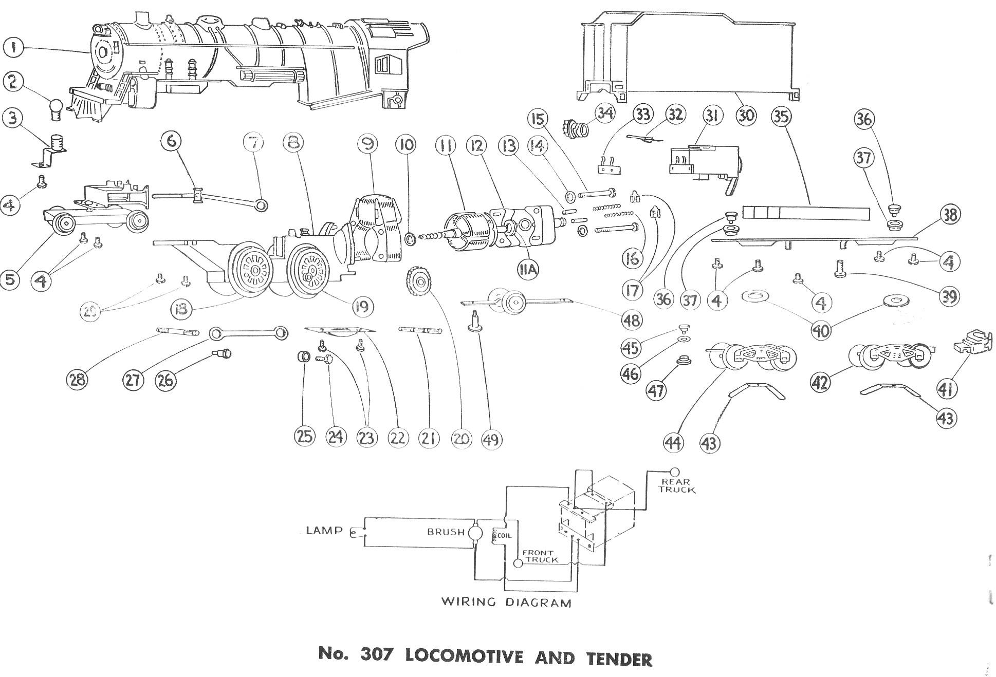 American Flyer Locomotive Wiring Diagrams American Flyer Locomotive 299 Amp 307 Parts List And Diagram