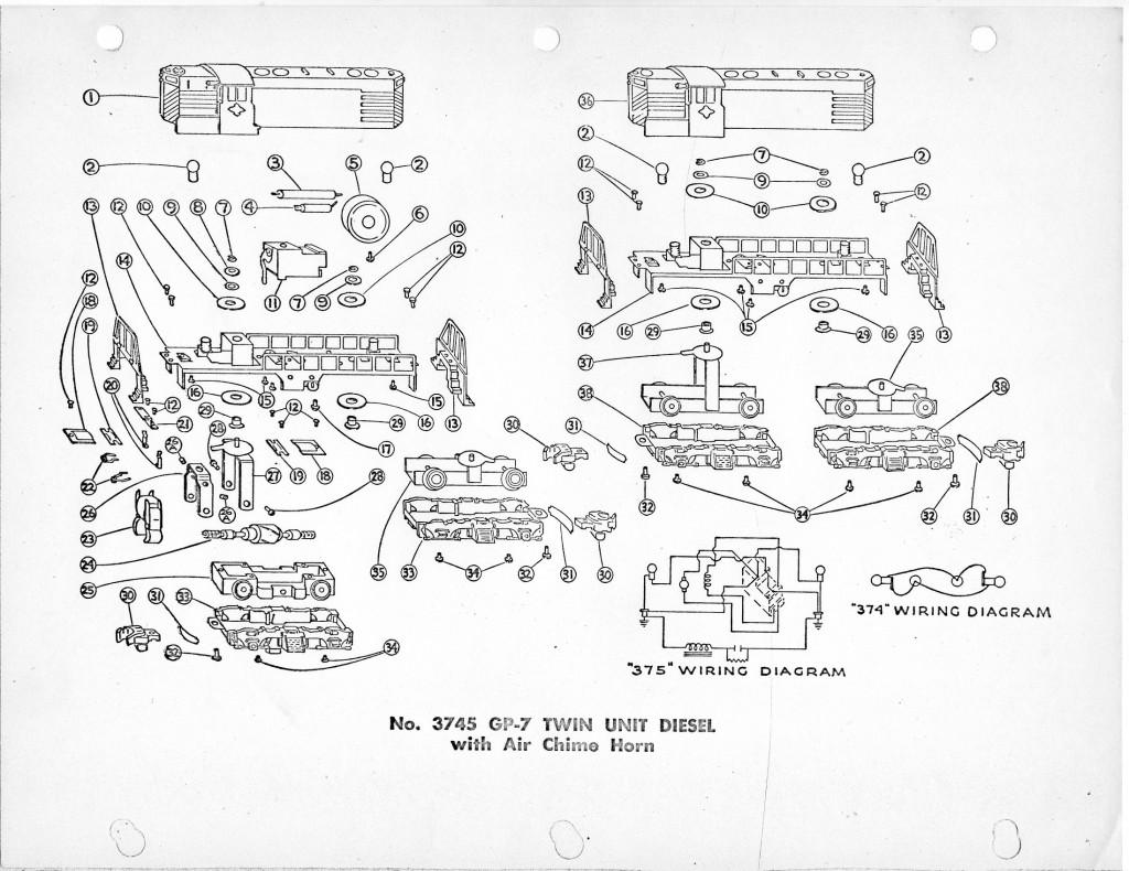 American Flyer Locomotive 3745 & 3778 Parts List & Diagram