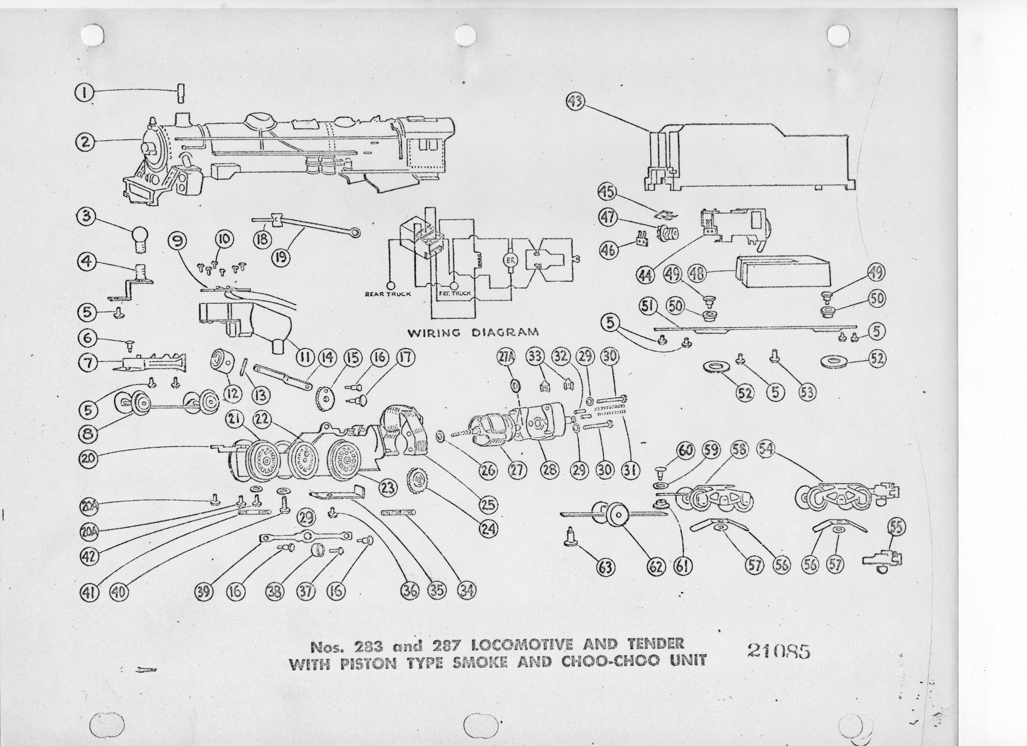 American Flyer Locomotive 283 Amp 287 Parts List Amp Diagram