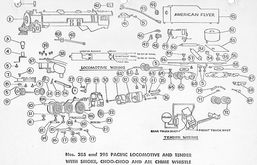 American Flyer Locomotive 285 & 295 Pacific Parts List