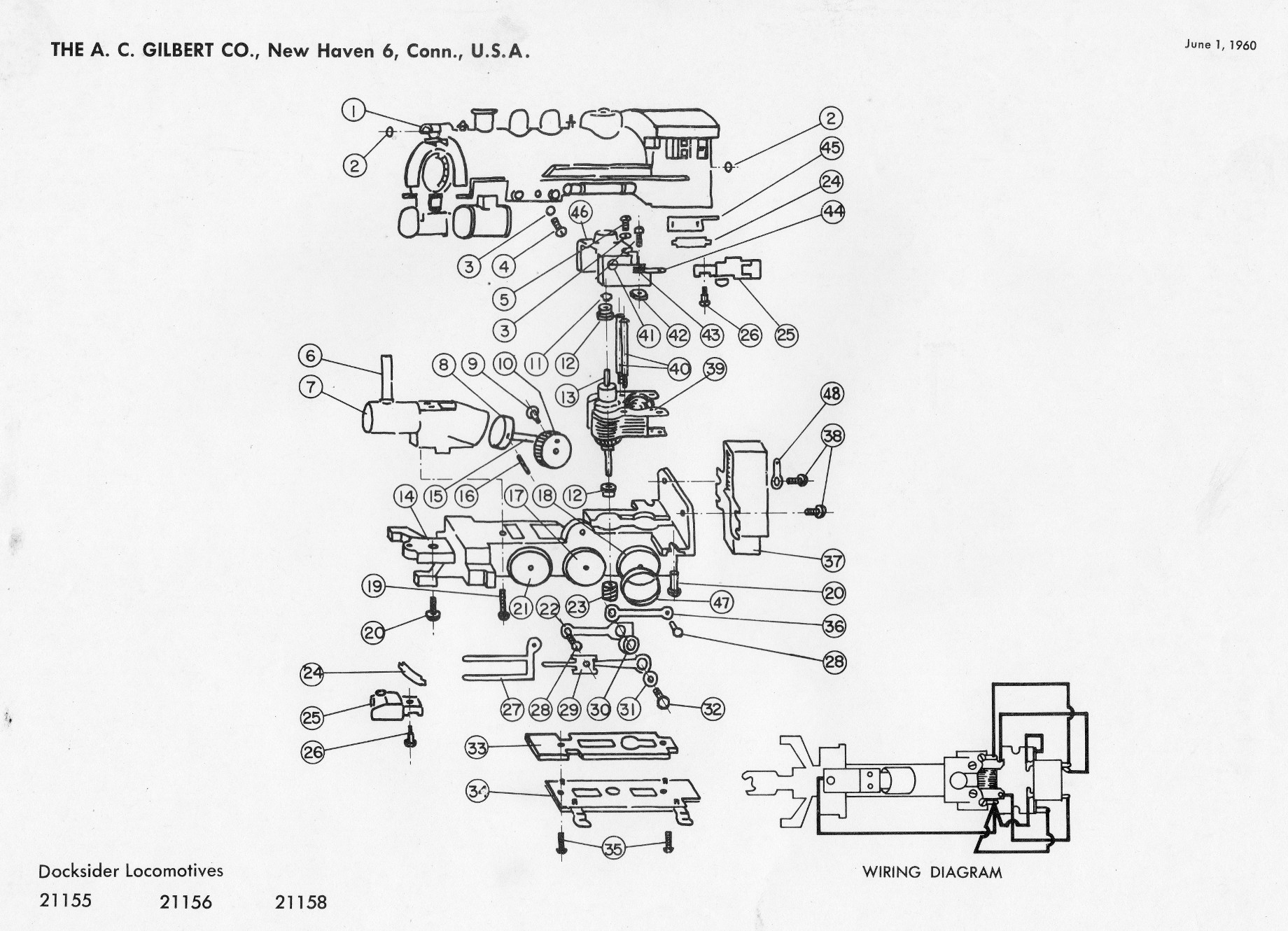 American Flyer Locomotive Docksider Switcher Parts List Amp Diagram