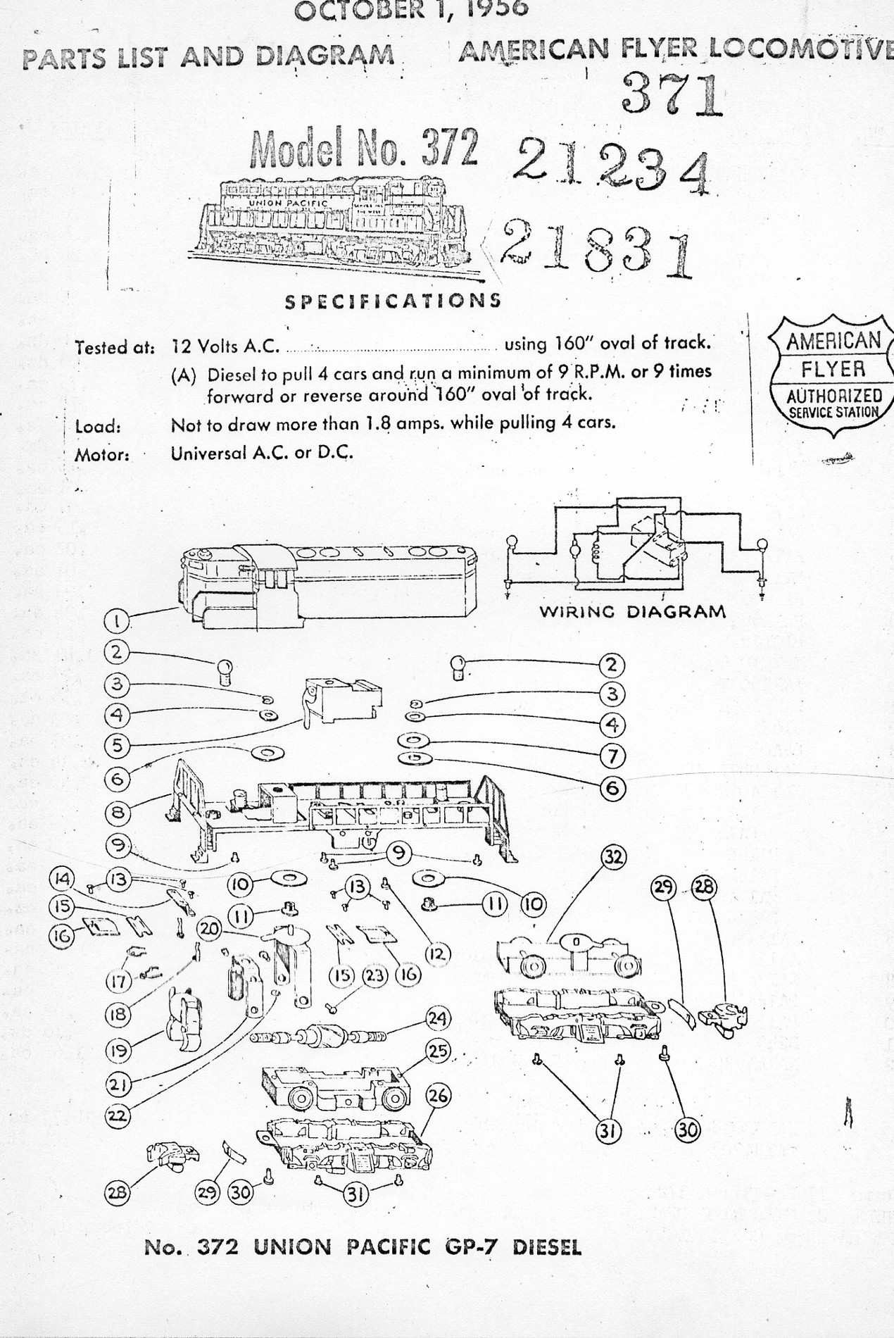 hight resolution of american flyer locomotive 372 union pacific gp 7 diesel parts list