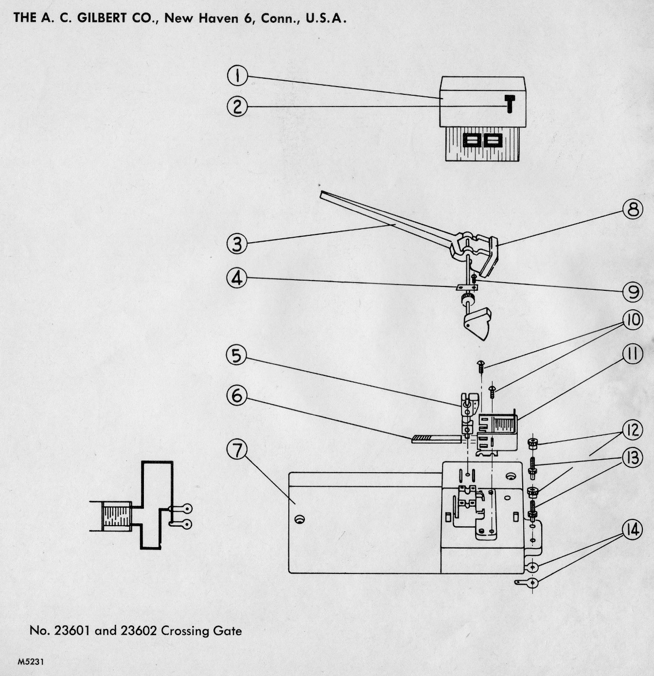 American Flyer Crossing Gate 23601 & 23602 Parts List and