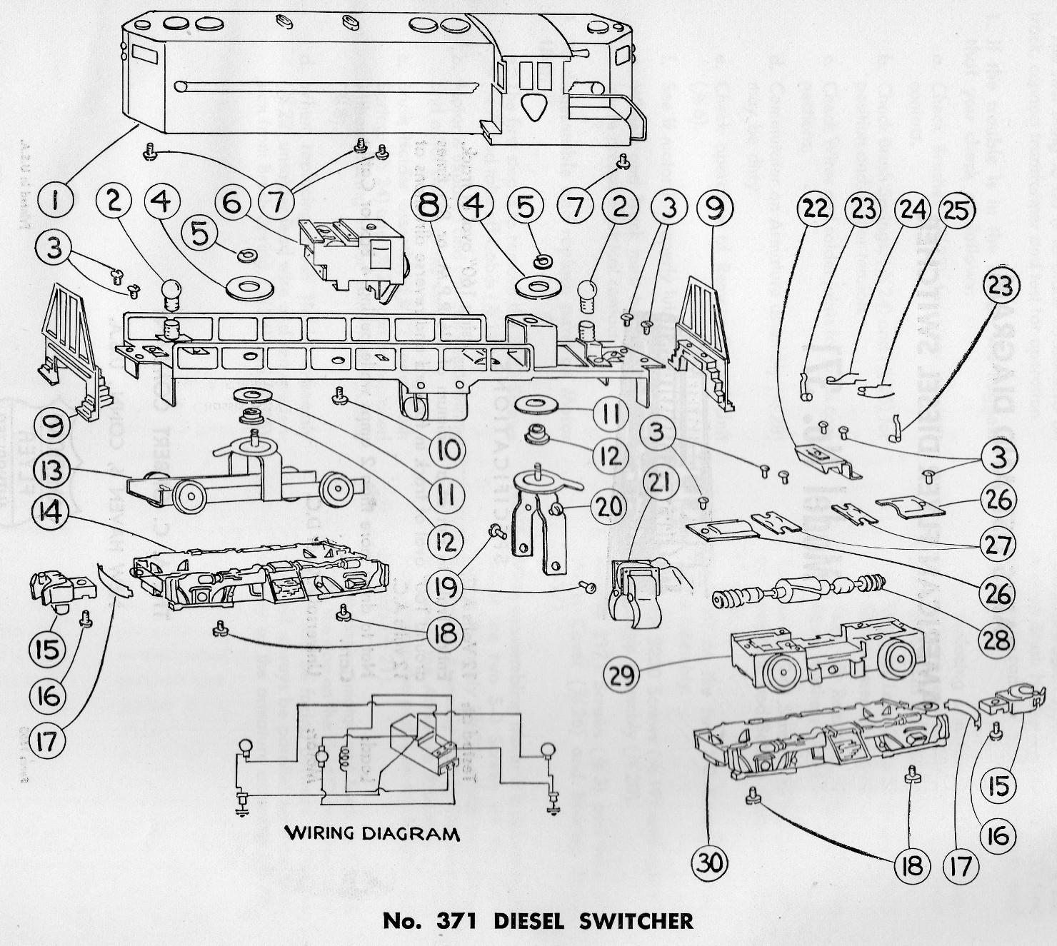 American Flyer Locomotive Wiring Diagrams American Flyer Diesel Switcher 371 Parts List Amp Diagram