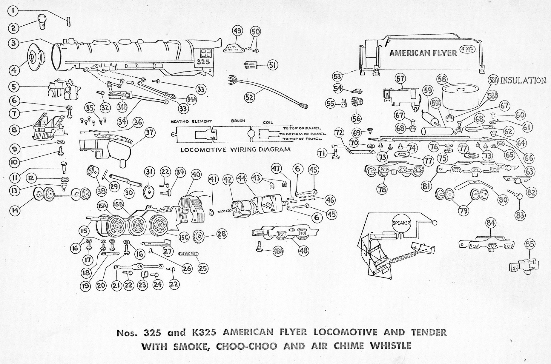 American Flyer Locomotive 325, 325AC & K325 Parts List