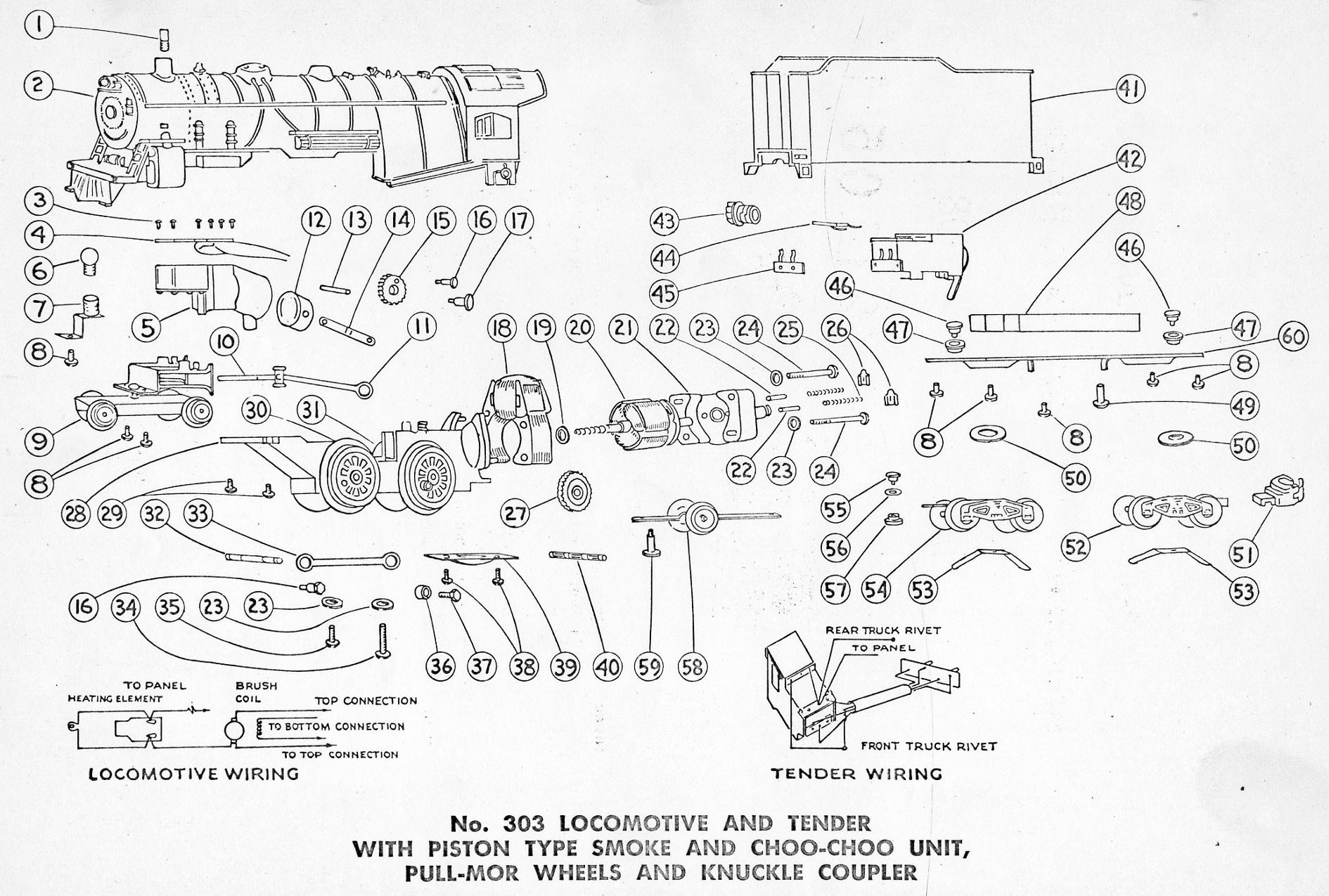 American Flyer Locomotive 308 Parts List Amp Diagram