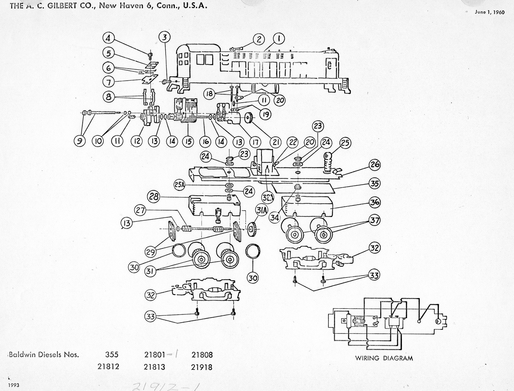 American Flyer Locomotive Baldwin Diesels Parts List