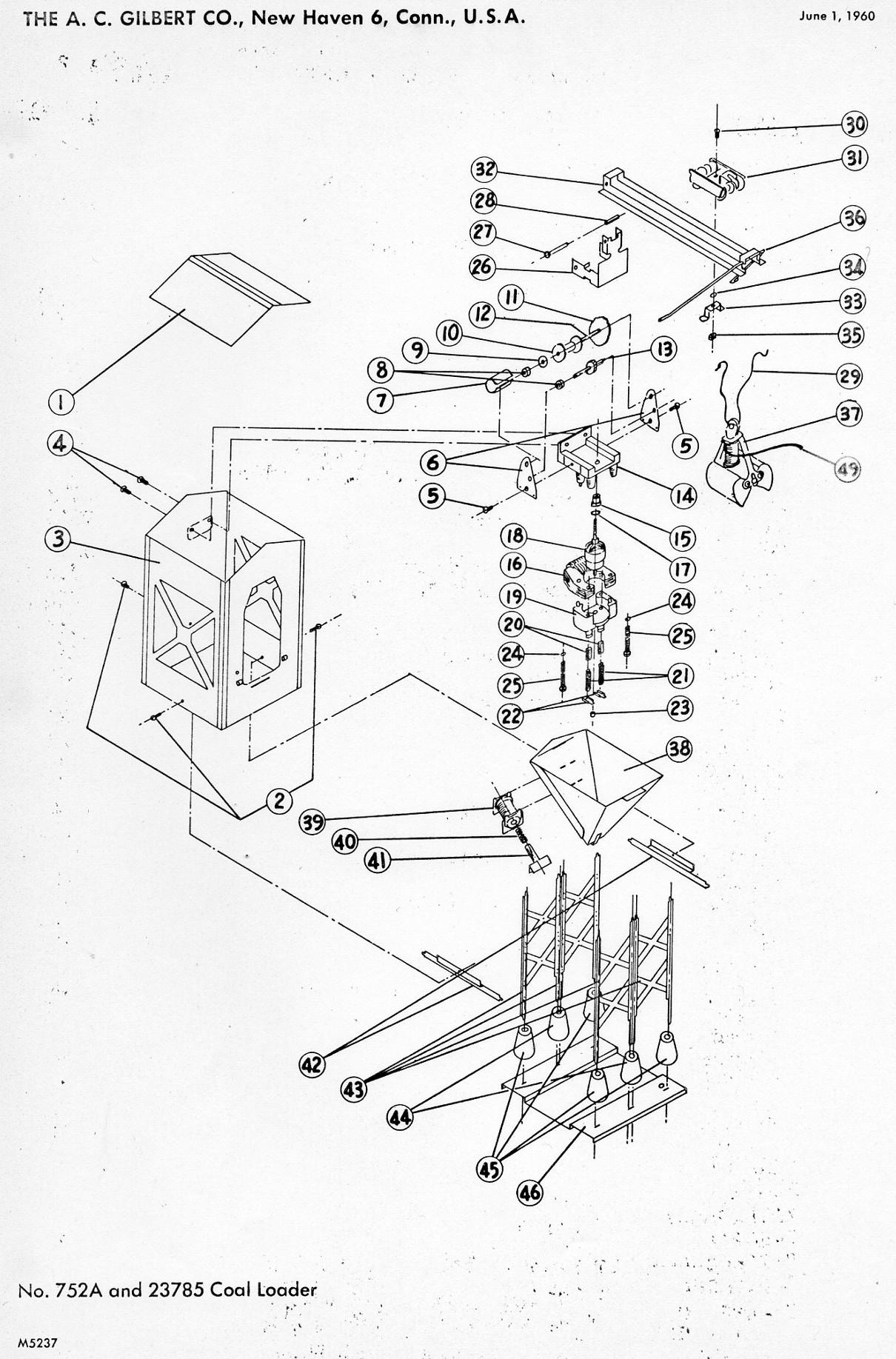 American Flyer Coal Loader 752A & 785 Parts List & Diagram