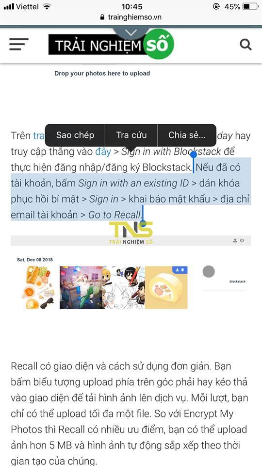 danh dau van ban safari 1 - Cách chụp màn hình trình duyệt iOS nhanh với một đoạn văn bản được đánh dấu