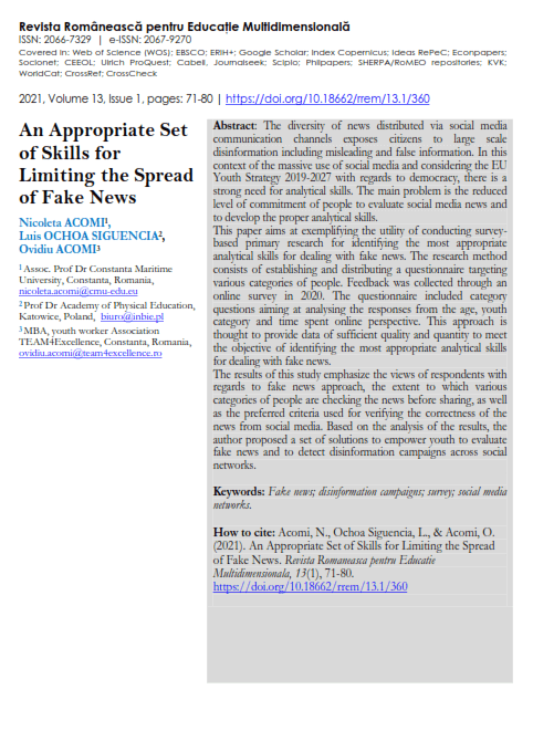 Academic article on the spread of Fake News