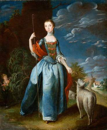 British (English) School; Shepherdess with Sheep; Colchester and Ipswich Museums Service; http://www.artuk.org/artworks/shepherdess-with-sheep-11719
