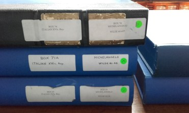 Storage boxes of Italian drawings.