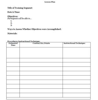 training lesson plan template