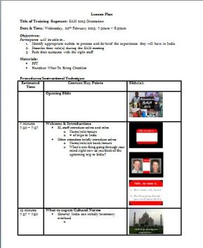 training lesson plan template completed