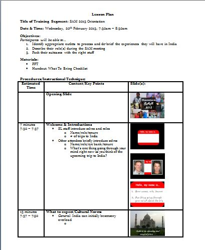 completed sample lesson plan for adults