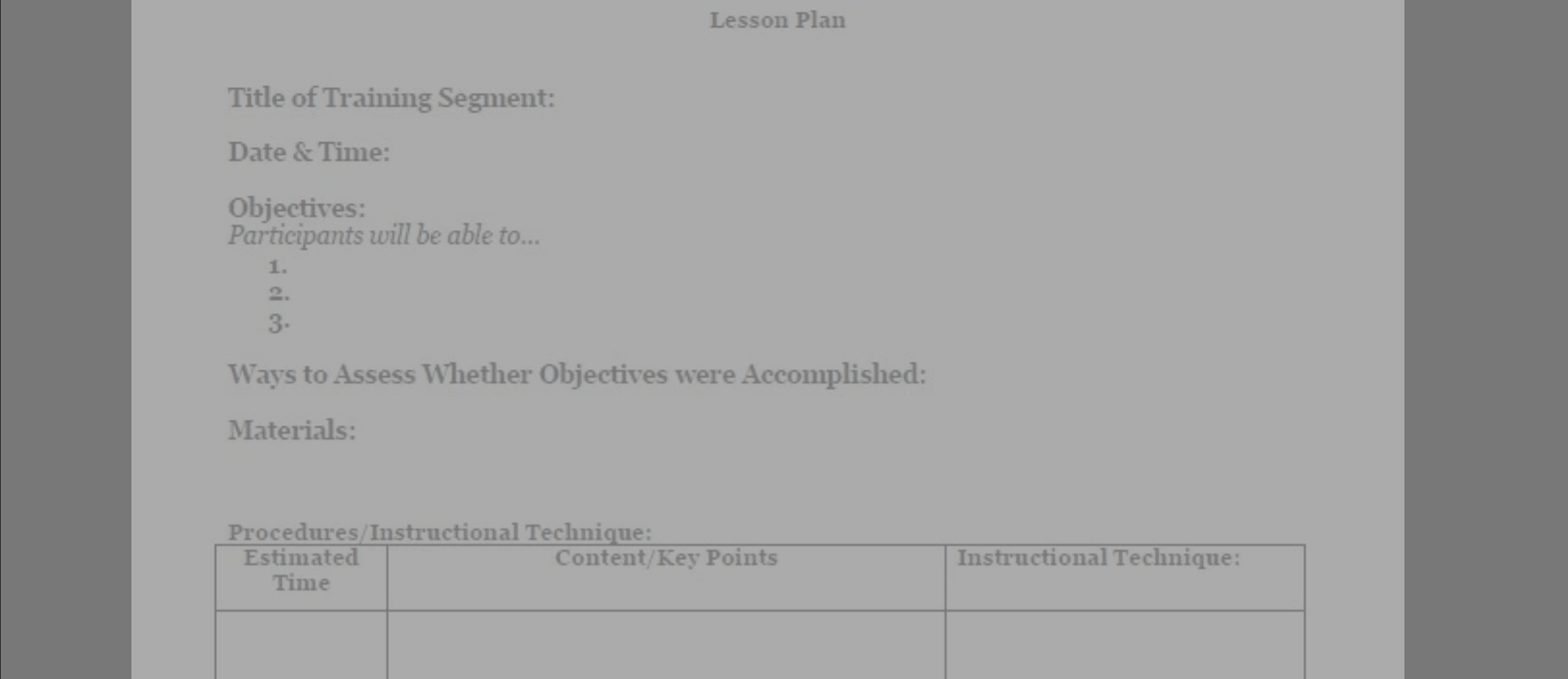 Using a Lesson Plan Outline to Organize Your Presentation