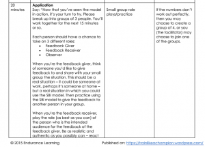 feedback lesson plan - application