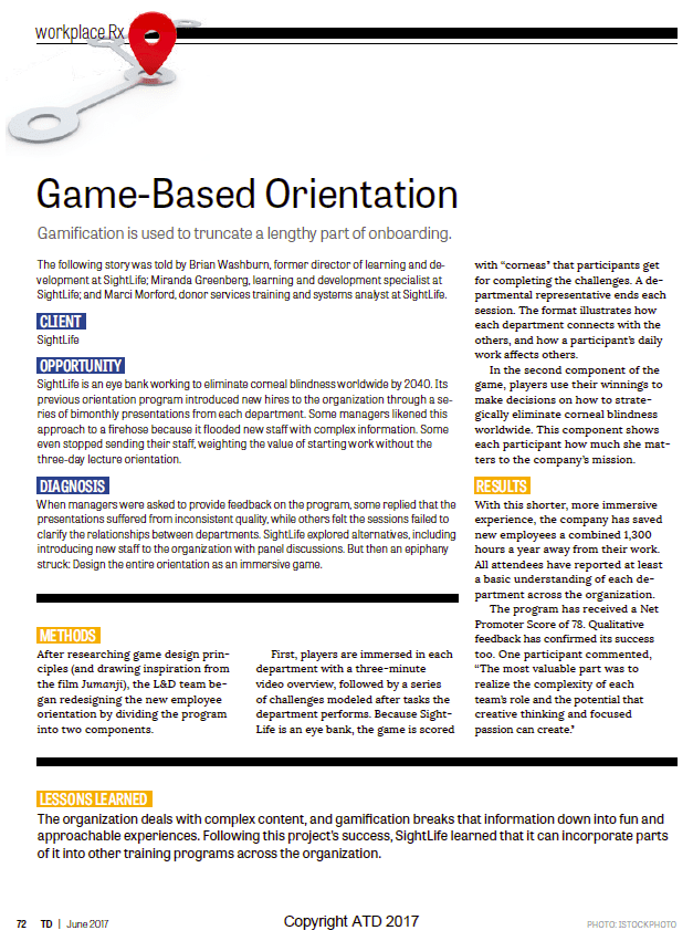 Game-based Orientation - Discussion of gamification in new hire orientation - TD Magazine