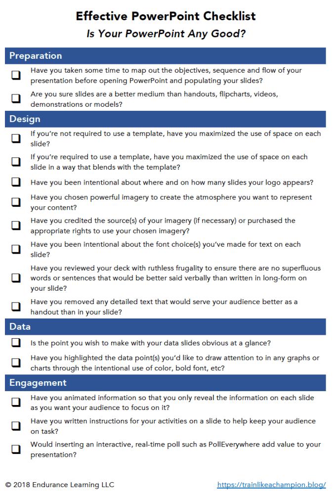 Effective PowerPoint Checklist