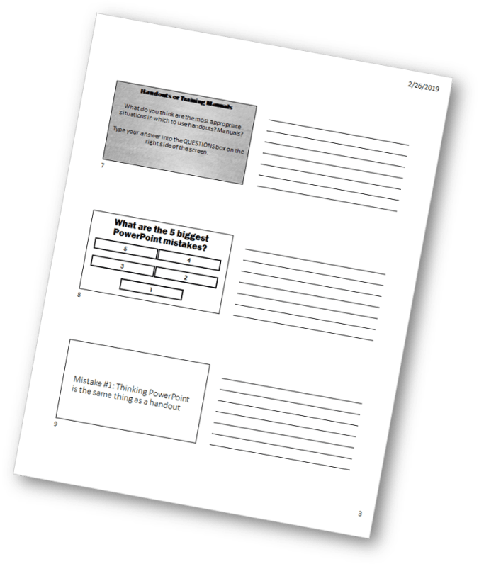 PPT Slides as a training handout