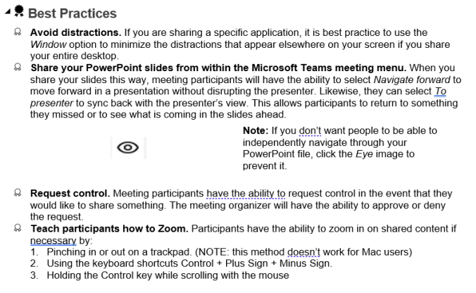 Microsoft Team's best practices for trainers