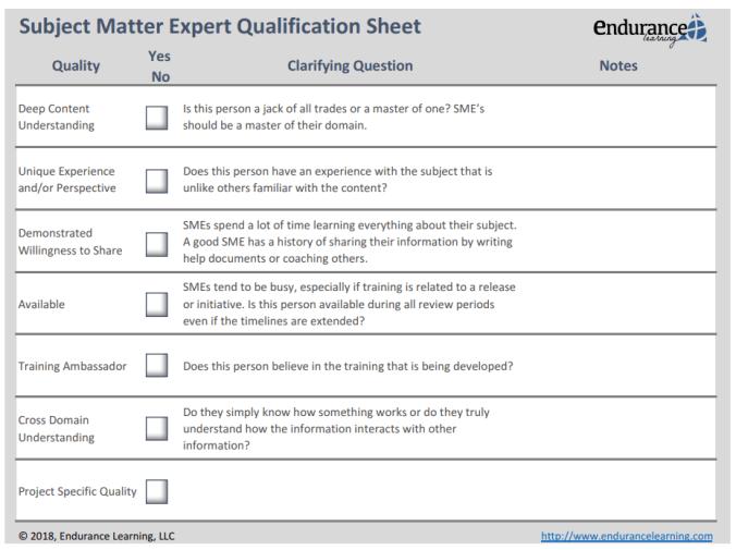 subject matter expert qualification sheet