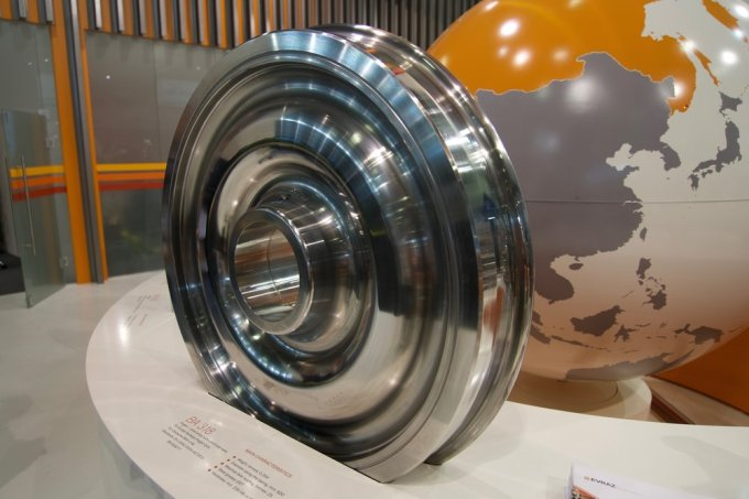 A wheel for the Deutsche Bahn AG. See the next photograph for more details about it.