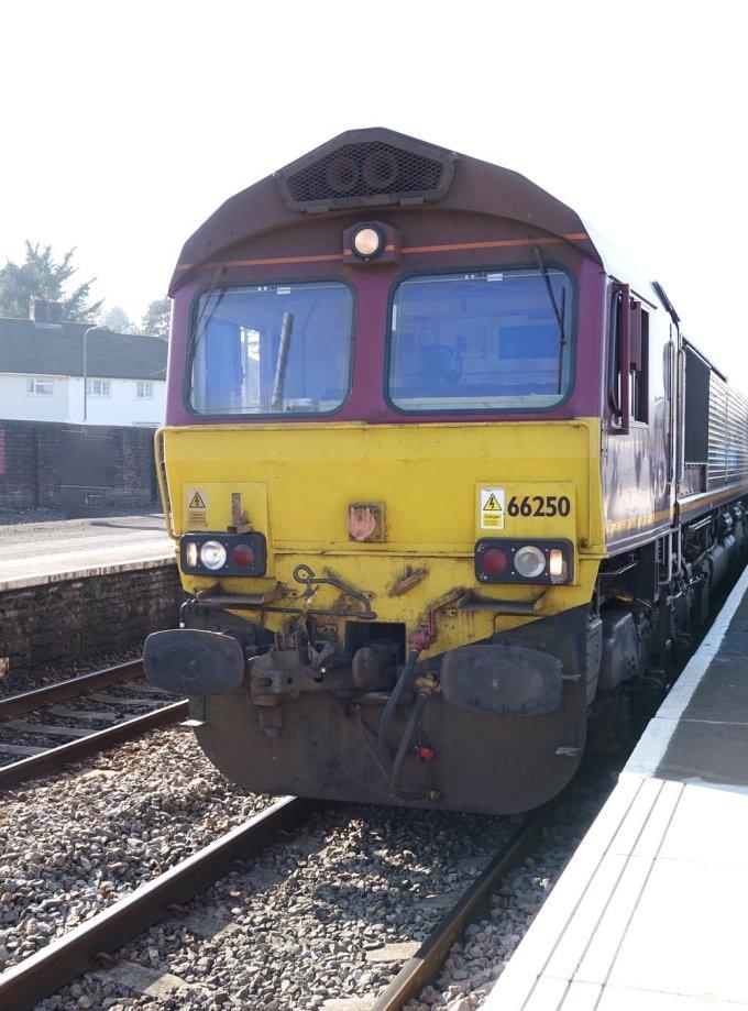 A UK Class 66 diesel electric locomotive. Still in EWS livery.