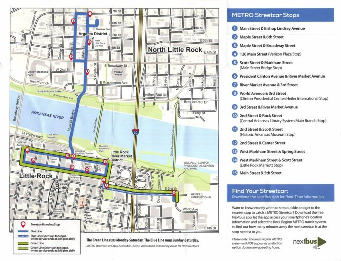 The streetcar route through Little Rock downtown and North Little Rock's commercial area