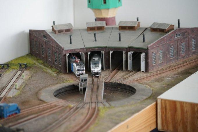 A detail shot of the above TT scale model train module.