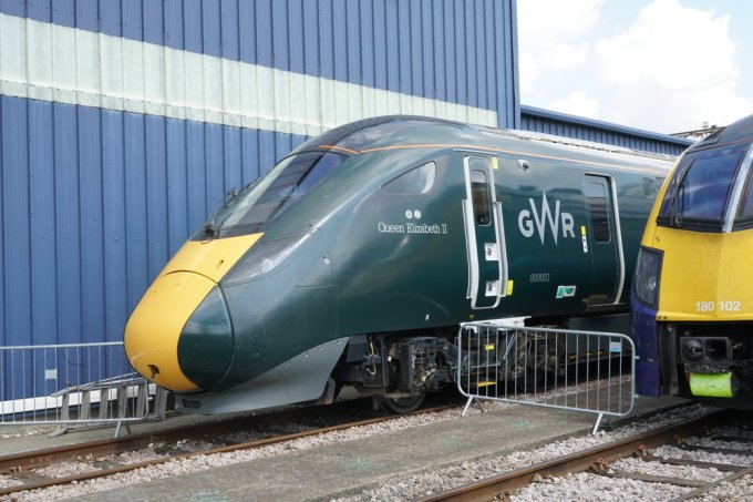 A closer look at a new Class 800 train.
