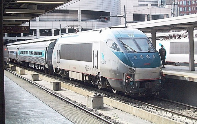 An Amtrak HHP-8 electric locomotive at Boston South Street Station