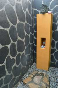 My adorable outdoor shower at a homestay in Pemuteran