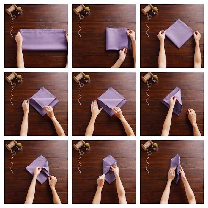 pliage serviette mariage chic pour ranger un menu