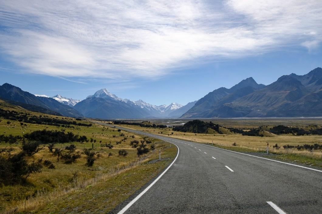 route mont cook nouvelle zélande
