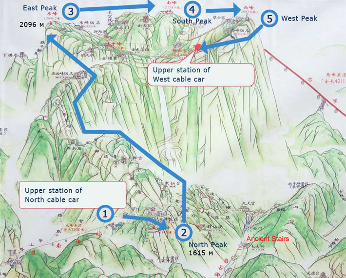 carte mont huashan chine