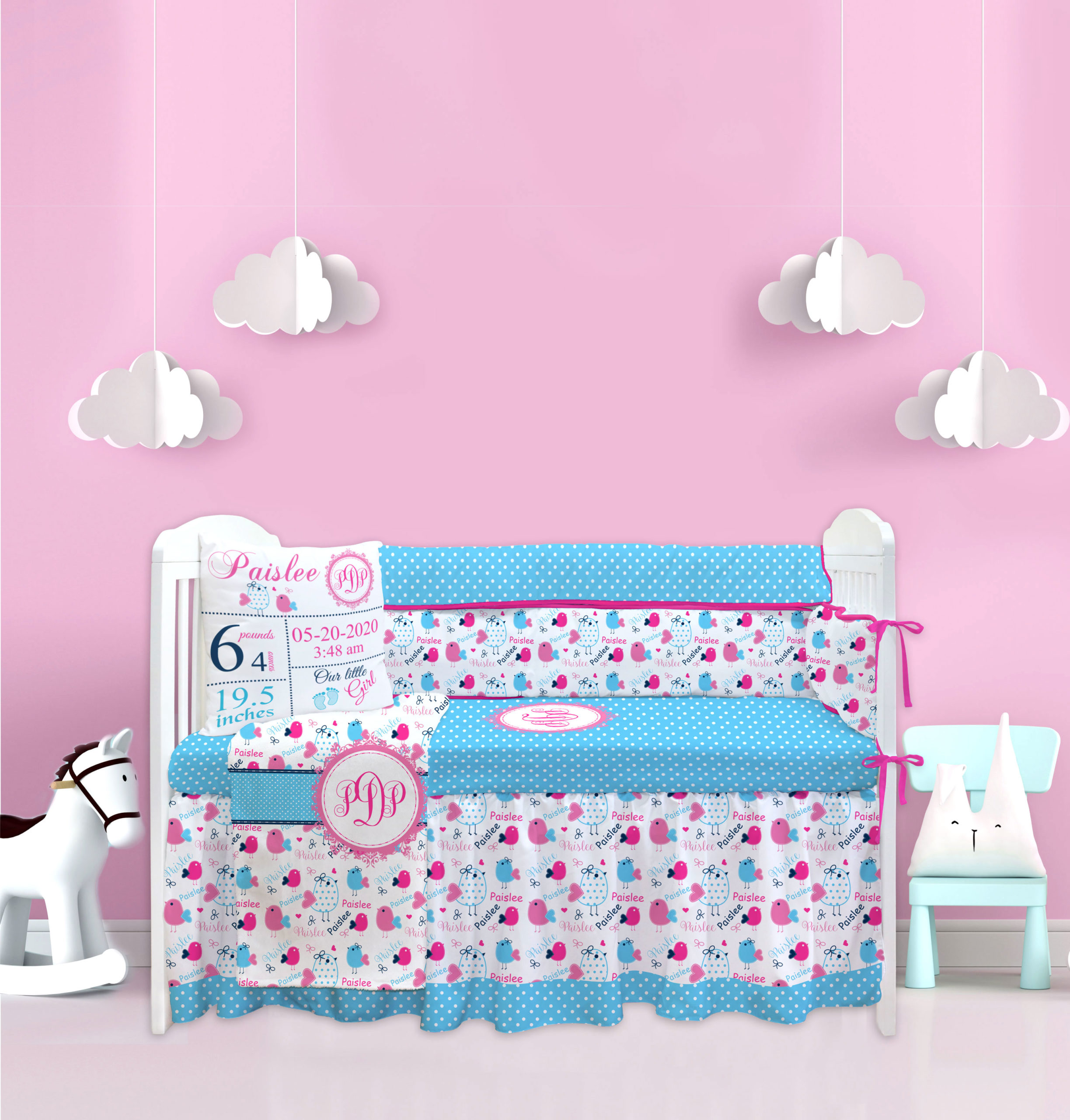 http trakiee com product personalized baby girl initial little bird pink blue crib bedding set 2