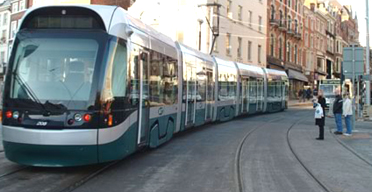 A tram on the streets of Nottingham