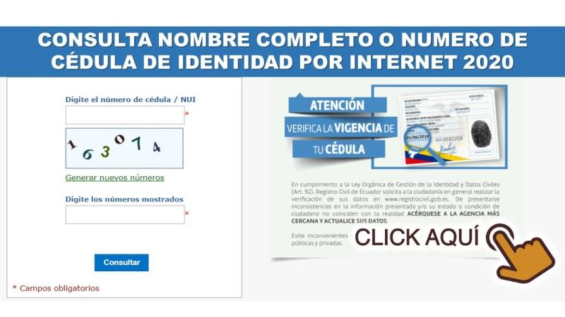 CONSULTA NOMBRE COMPLETO O NUMERO DE CÉDULA DE IDENTIDAD POR INTERNET 2020