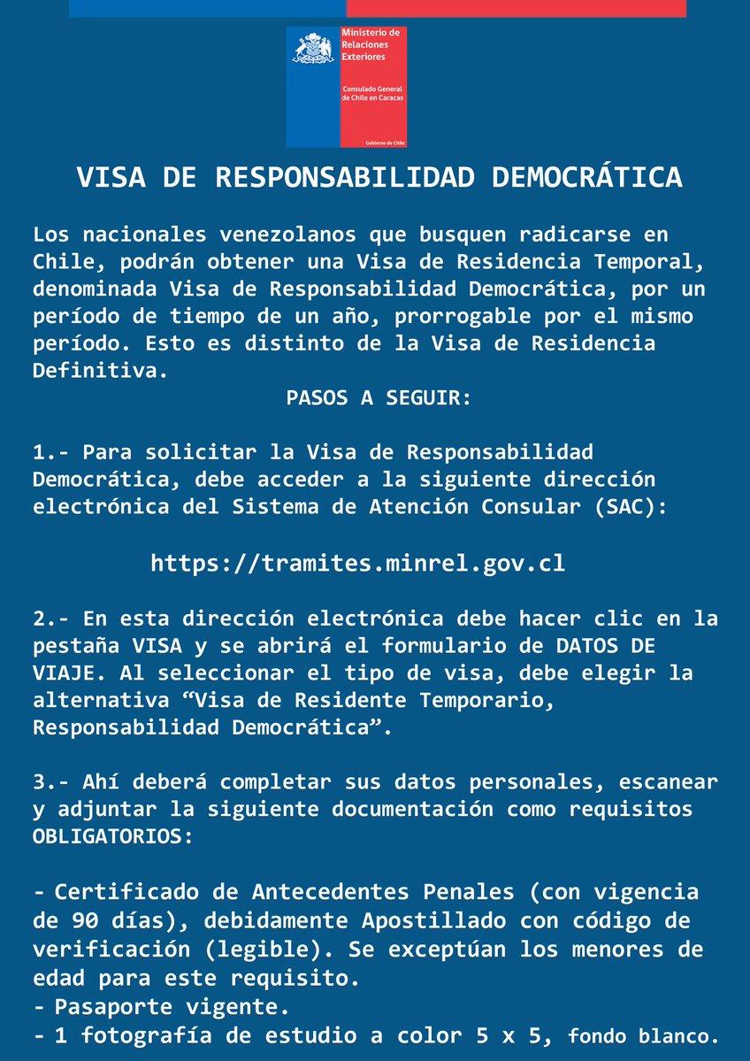 visa de responsabilidad democr u00e1tica para chile