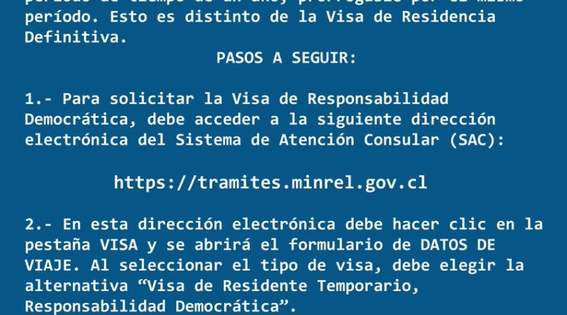 Visa De Responsabilidad Democrática Para Chile Paso A Paso
