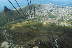 A view from Cable Car inside down at the city, A road leading to Table Mountain with a view of the city, Cape Town, South Africa, heigh