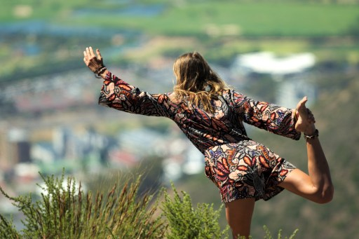 Yoga on top of Lions head in Cape Town, South Africa