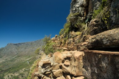Edge of the trail to lions head, cape town, south africa