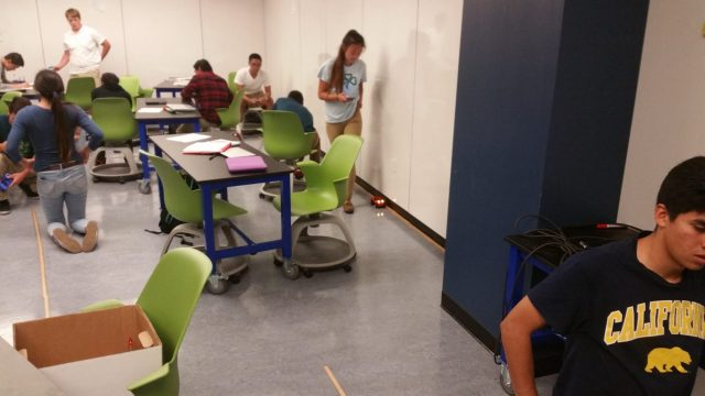 photo of students determining the speed of their buggy.