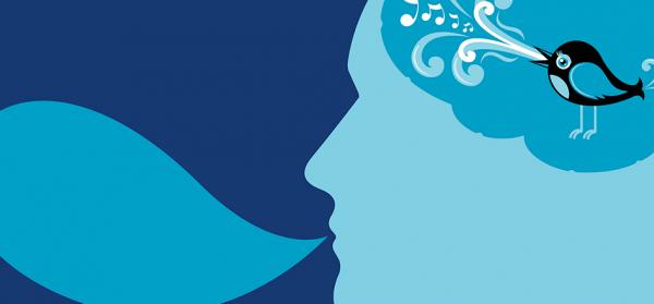 Twitter bird inside someone's head
