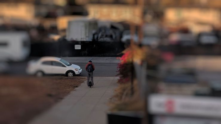 Photo of a rider on a onewheel at Hayward station