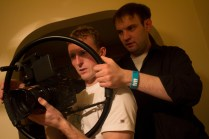 Cinematographer Cian Moynan and Writer/ Direcotr Tom Ryan working out a shot.
