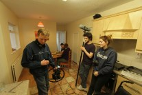 The cast and crew on set.